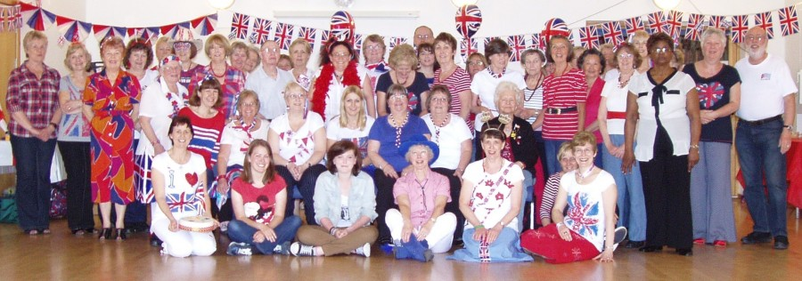 Red, White and Blue Party Group Photo